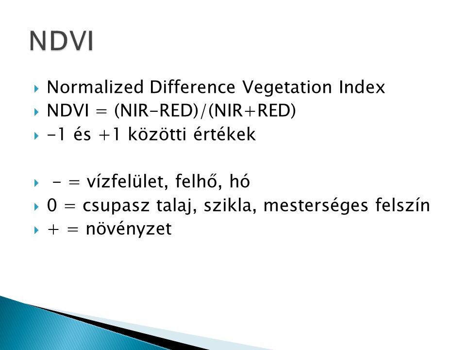  Normalized Difference Vegetation Index  NDVI = (NIR-RED)/(NIR+RED)  -1 és +1 közötti értékek  - = vízfelület, felhő, hó  0 = csupasz talaj, szik