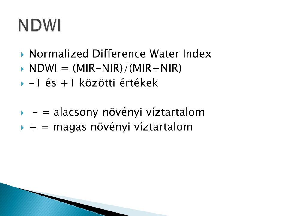  Normalized Difference Water Index  NDWI = (MIR-NIR)/(MIR+NIR)  -1 és +1 közötti értékek  - = alacsony növényi víztartalom  + = magas növényi víz
