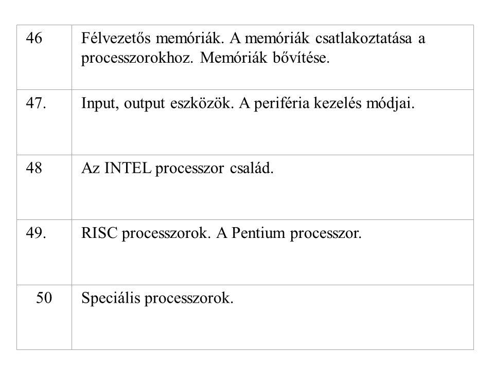46Félvezetős memóriák. A memóriák csatlakoztatása a processzorokhoz. Memóriák bővítése. 47.Input, output eszközök. A periféria kezelés módjai. 48Az IN
