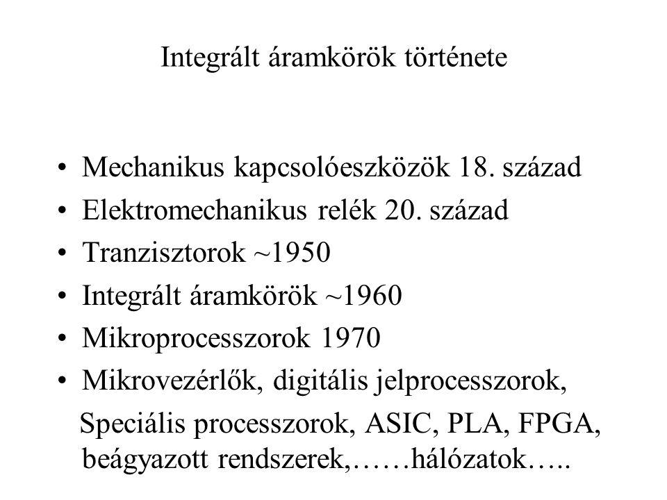Integrált áramkörök története Mechanikus kapcsolóeszközök 18. század Elektromechanikus relék 20. század Tranzisztorok ~1950 Integrált áramkörök ~1960