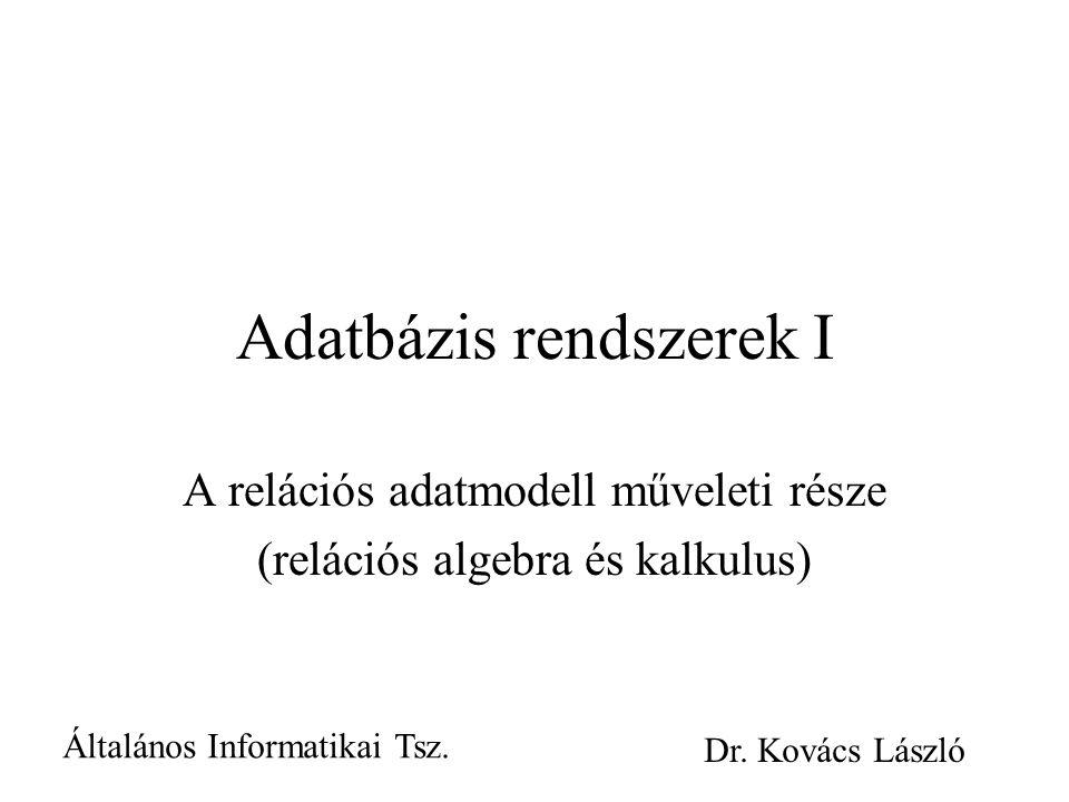 Adatbázis rendszerek I A relációs adatmodell műveleti része (relációs algebra és kalkulus) Általános Informatikai Tsz.