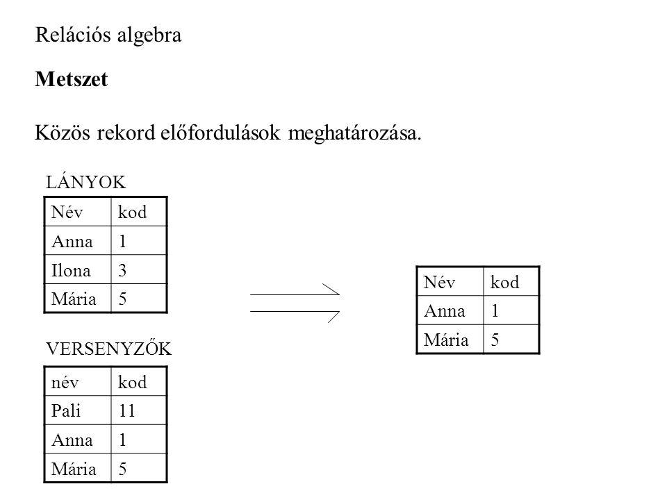 Relációs algebra Metszet Közös rekord előfordulások meghatározása.