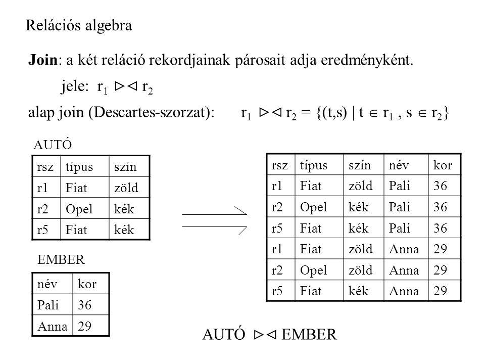 Relációs algebra Join: a két reláció rekordjainak párosait adja eredményként.