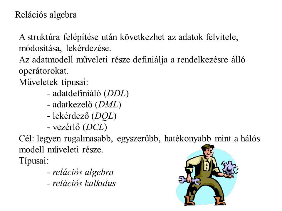 Relációs algebra A struktúra felépítése után következhet az adatok felvitele, módosítása, lekérdezése.
