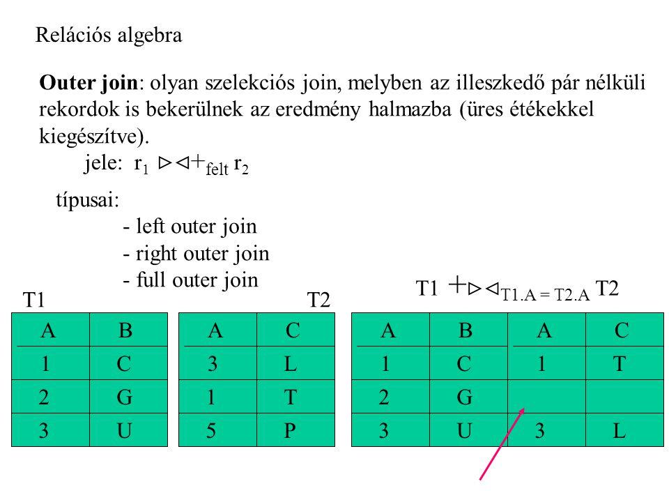 Relációs algebra Outer join: olyan szelekciós join, melyben az illeszkedő pár nélküli rekordok is bekerülnek az eredmény halmazba (üres étékekkel kiegészítve).