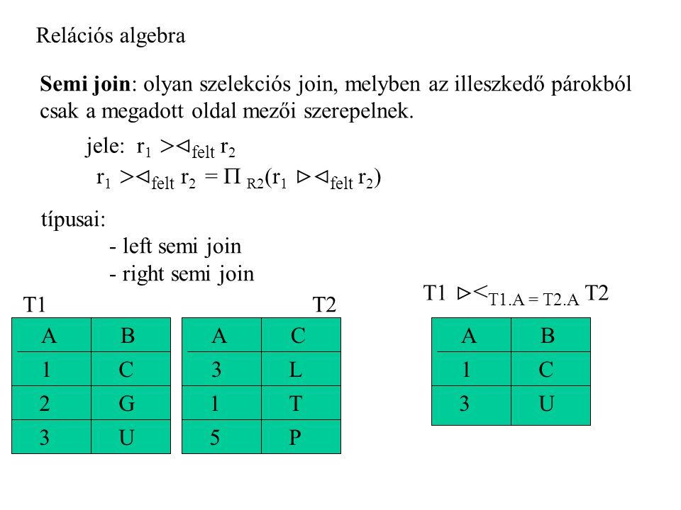 Relációs algebra Semi join: olyan szelekciós join, melyben az illeszkedő párokból csak a megadott oldal mezői szerepelnek.