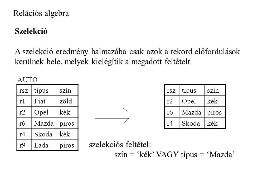 Relációs algebra Szelekció A szelekció eredmény halmazába csak azok a rekord előfordulások kerülnek bele, melyek kielégítik a megadott feltételt.