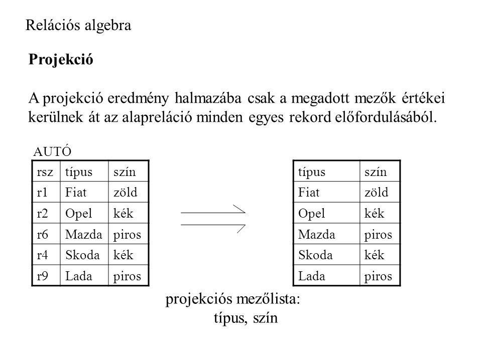 Relációs algebra Projekció A projekció eredmény halmazába csak a megadott mezők értékei kerülnek át az alapreláció minden egyes rekord előfordulásából.