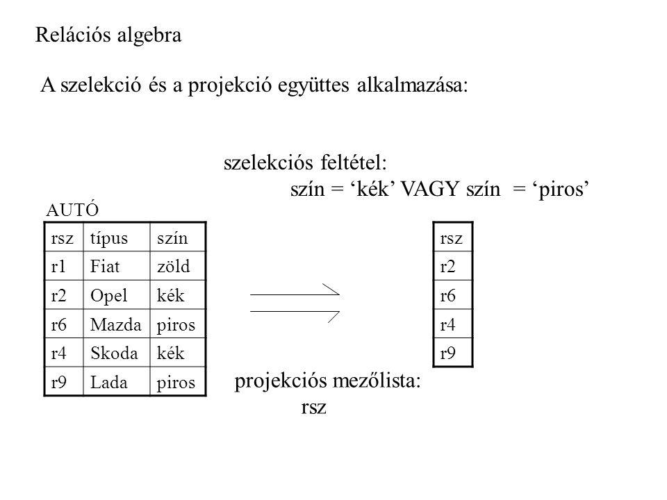 Relációs algebra A szelekció és a projekció együttes alkalmazása: rsztípusszín r1Fiatzöld r2Opelkék r6Mazdapiros r4Skodakék r9Ladapiros AUTÓ rsz r2 r6 r4 r9 projekciós mezőlista: rsz szelekciós feltétel: szín = 'kék' VAGY szín = 'piros'