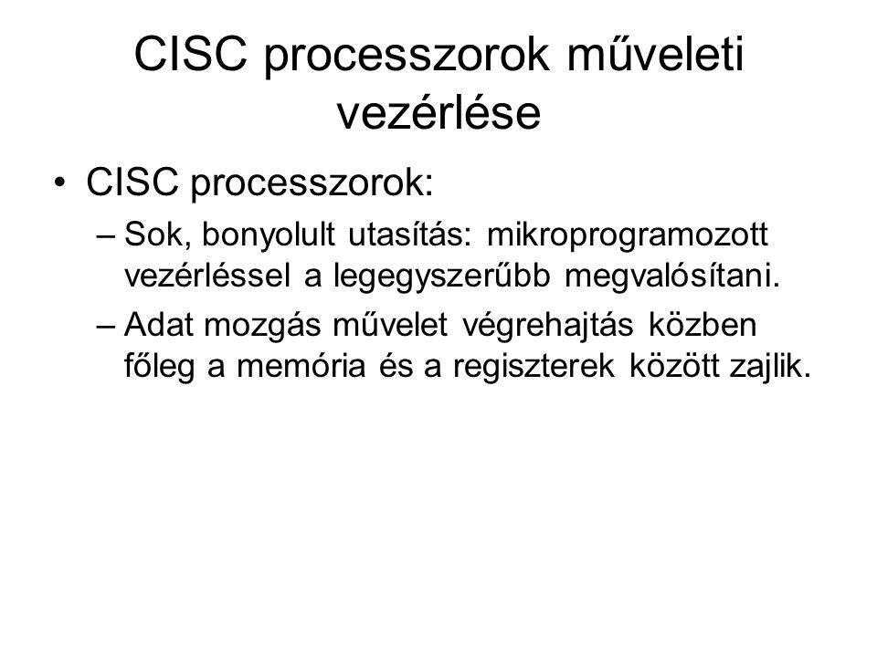 CISC processzorok műveleti vezérlése CISC processzorok: –Sok, bonyolult utasítás: mikroprogramozott vezérléssel a legegyszerűbb megvalósítani. –Adat m