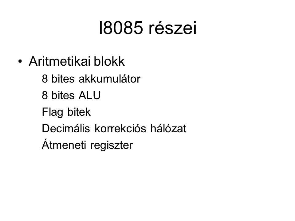 I8085 részei Aritmetikai blokk 8 bites akkumulátor 8 bites ALU Flag bitek Decimális korrekciós hálózat Átmeneti regiszter