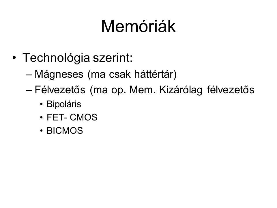 Memóriák Technológia szerint: –Mágneses (ma csak háttértár) –Félvezetős (ma op. Mem. Kizárólag félvezetős Bipoláris FET- CMOS BICMOS