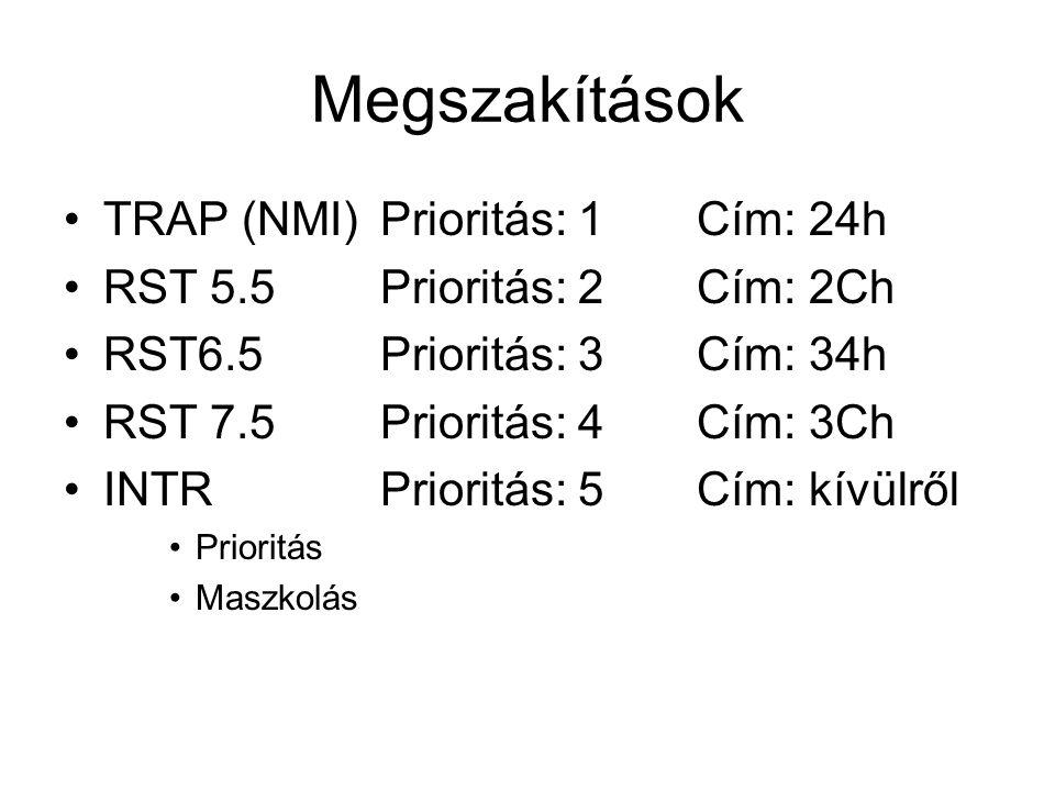 Megszakítások TRAP (NMI)Prioritás: 1Cím: 24h RST 5.5Prioritás: 2Cím: 2Ch RST6.5 Prioritás: 3Cím: 34h RST 7.5 Prioritás: 4Cím: 3Ch INTR Prioritás: 5Cím