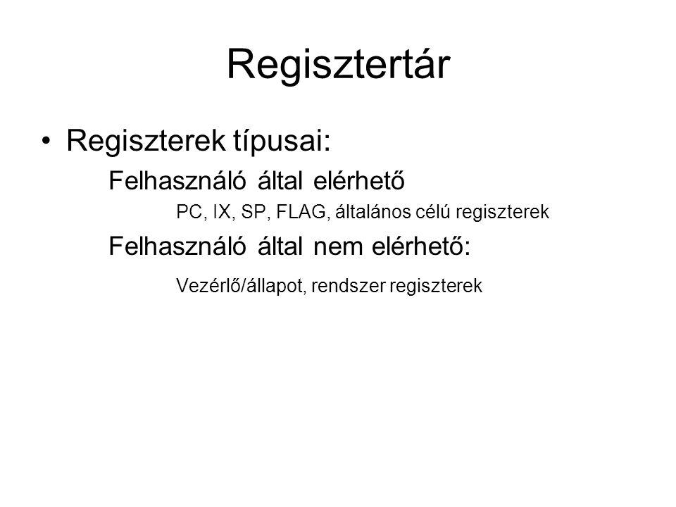 Regisztertár Regiszterek típusai: Felhasználó által elérhető PC, IX, SP, FLAG, általános célú regiszterek Felhasználó által nem elérhető: Vezérlő/állapot, rendszer regiszterek