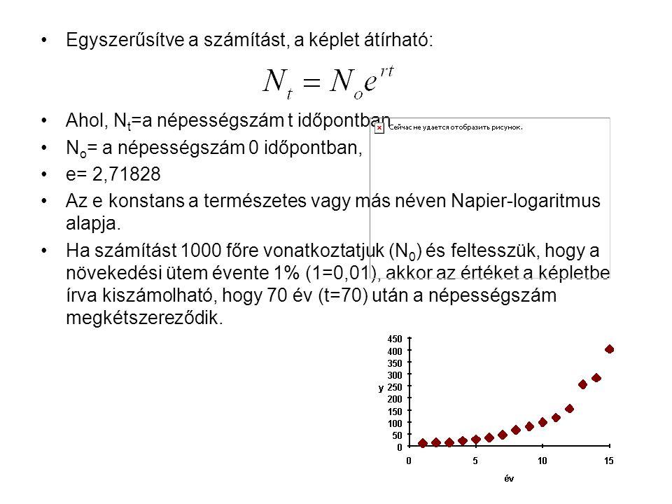 Egyszerűsítve a számítást, a képlet átírható: Ahol, N t =a népességszám t időpontban N o = a népességszám 0 időpontban, e= 2,71828 Az e konstans a ter