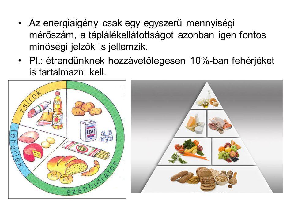 Az energiaigény csak egy egyszerű mennyiségi mérőszám, a táplálékellátottságot azonban igen fontos minőségi jelzők is jellemzik. Pl.: étrendünknek hoz