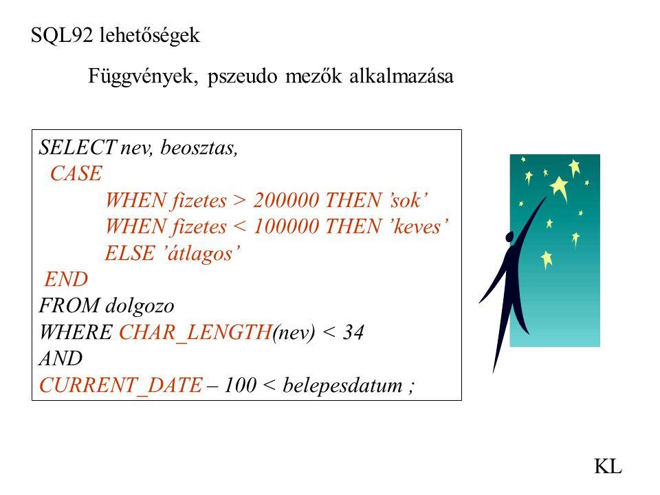 SQL92 lehetőségek KL Függvények, pszeudo mezők alkalmazása SELECT nev, beosztas, CASE WHEN fizetes > 200000 THEN 'sok' WHEN fizetes < 100000 THEN 'kev