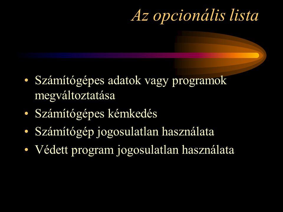 Az opcionális lista Számítógépes adatok vagy programok megváltoztatása Számítógépes kémkedés Számítógép jogosulatlan használata Védett program jogosul