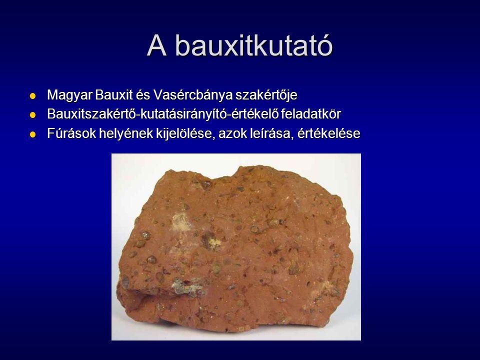 A bauxitkutató Magyar Bauxit és Vasércbánya szakértője Magyar Bauxit és Vasércbánya szakértője Bauxitszakértő-kutatásirányító-értékelő feladatkör Baux