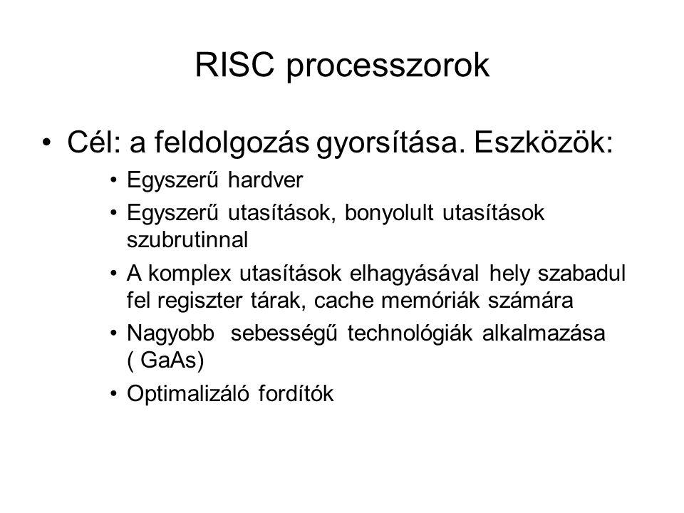 RISC processzorok Cél: a feldolgozás gyorsítása.