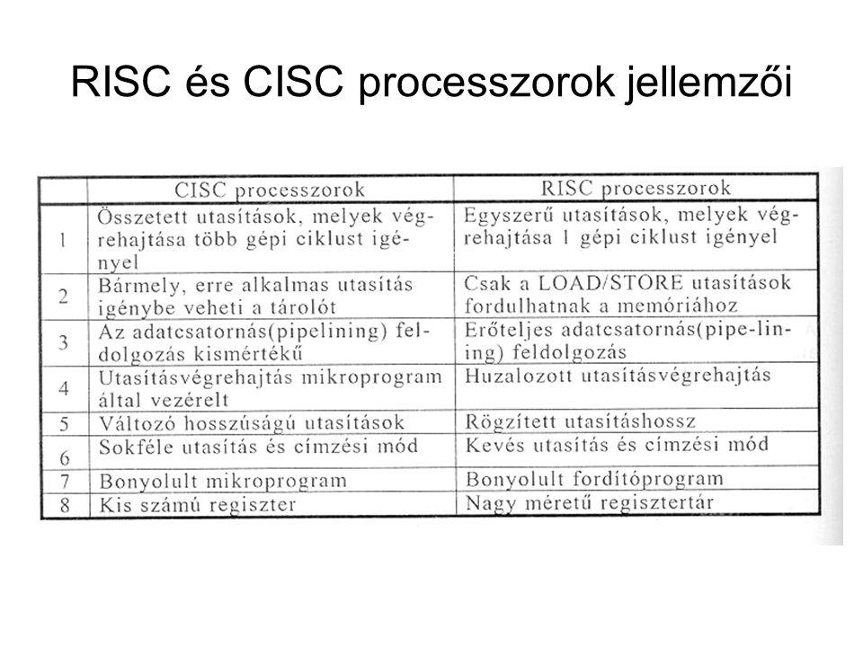 RISC és CISC processzorok jellemzői