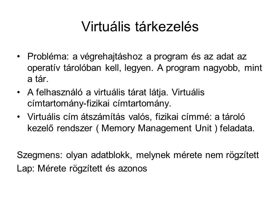 Virtuális tárkezelés Probléma: a végrehajtáshoz a program és az adat az operatív tárolóban kell, legyen.