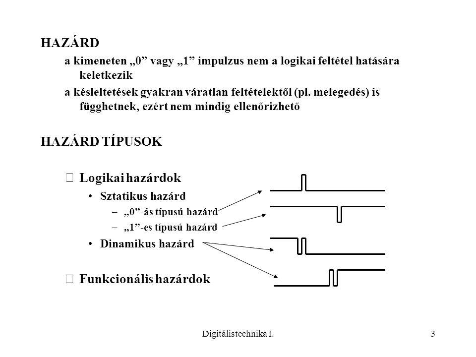 """Digitálistechnika I.3 HAZÁRD a kimeneten """"0"""" vagy """"1"""" impulzus nem a logikai feltétel hatására keletkezik a késleltetések gyakran váratlan feltételekt"""