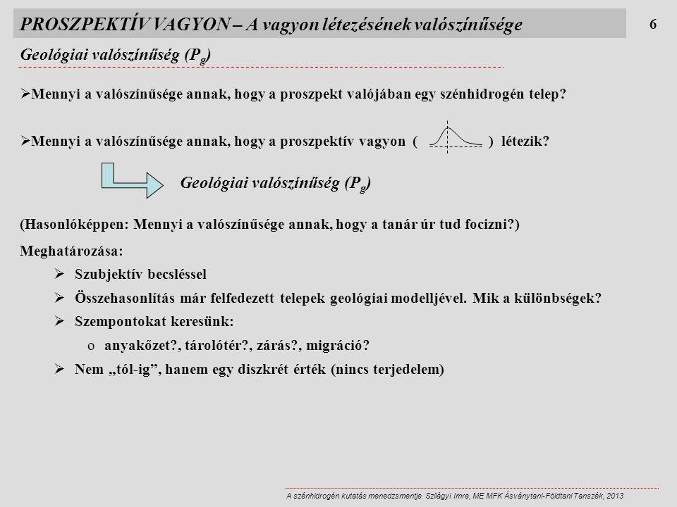 PROSZPEKTÍV VAGYON – A vagyon létezésének valószínűsége Geológiai valószínűség (P g ) 6 A szénhidrogén kutatás menedzsmentje.