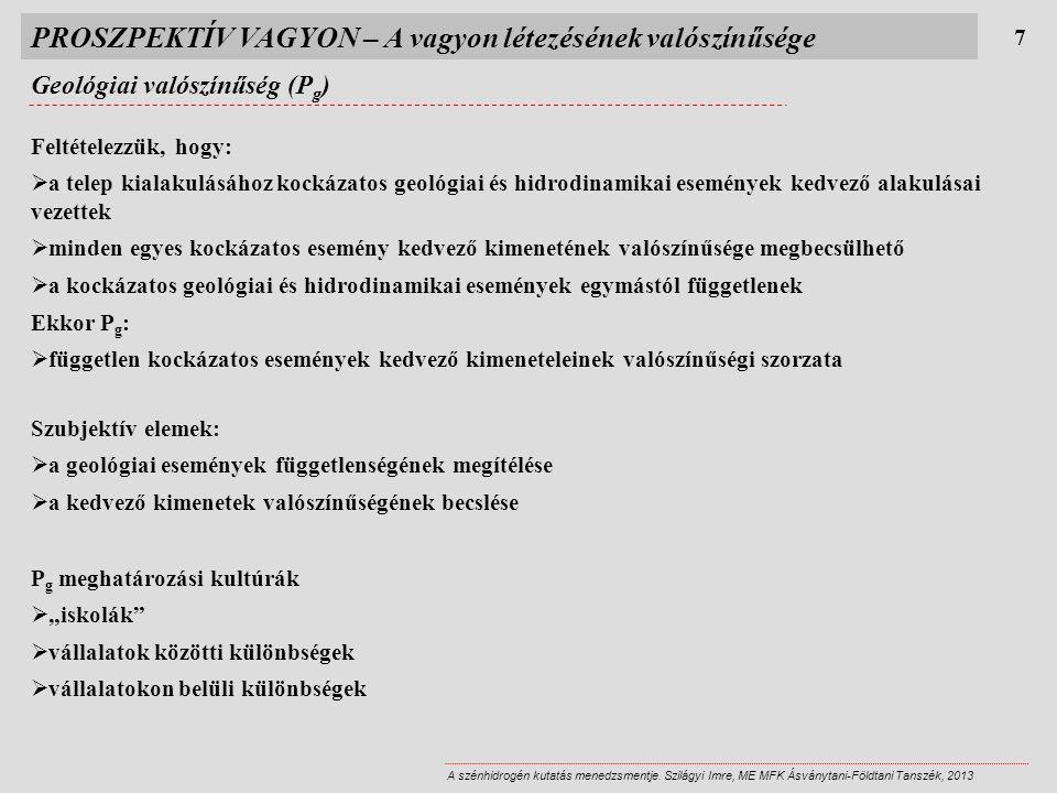PROSZPEKTÍV VAGYON – A vagyon létezésének valószínűsége Geológiai valószínűség (P g ) 7 A szénhidrogén kutatás menedzsmentje.