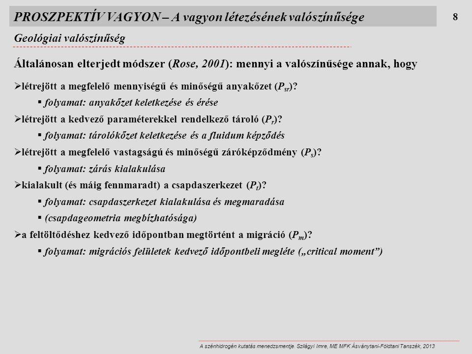 PROSZPEKTÍV VAGYON – A vagyon létezésének valószínűsége Geológiai valószínűség 8 Általánosan elterjedt módszer (Rose, 2001): mennyi a valószínűsége annak, hogy  létrejött a megfelelő mennyiségű és minőségű anyakőzet (P sr ).
