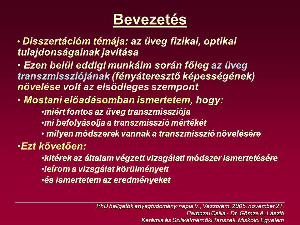Az üveg transzmissziója PhD hallgatók anyagtudományi napja V., Veszprém, 2005.