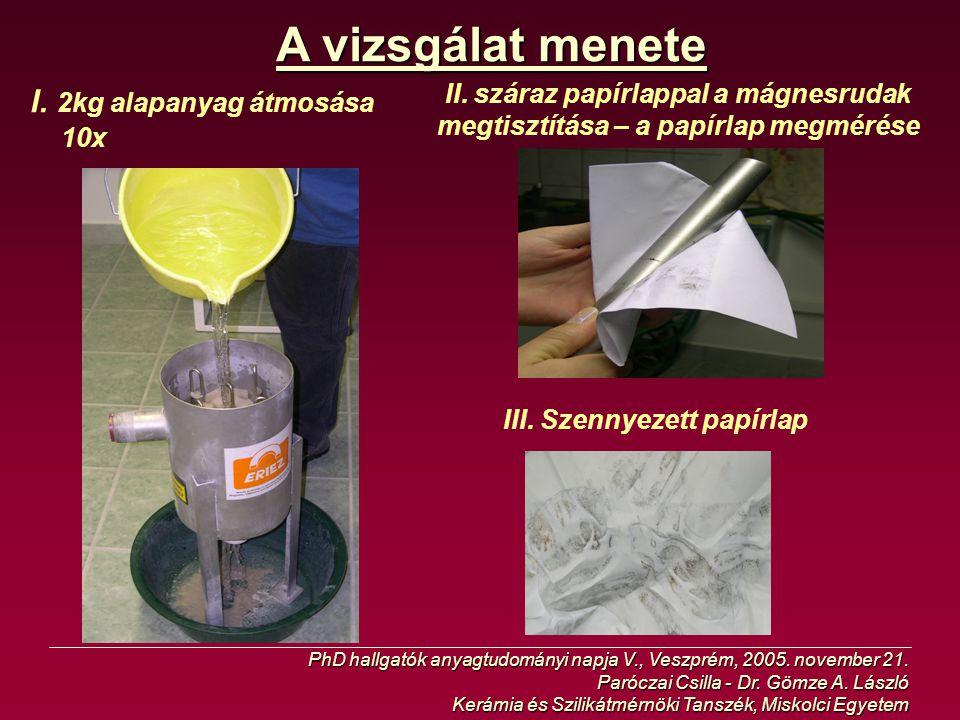 A vizsgálat menete I. 2kg alapanyag átmosása 10x II. száraz papírlappal a mágnesrudak megtisztítása – a papírlap megmérése III. Szennyezett papírlap P