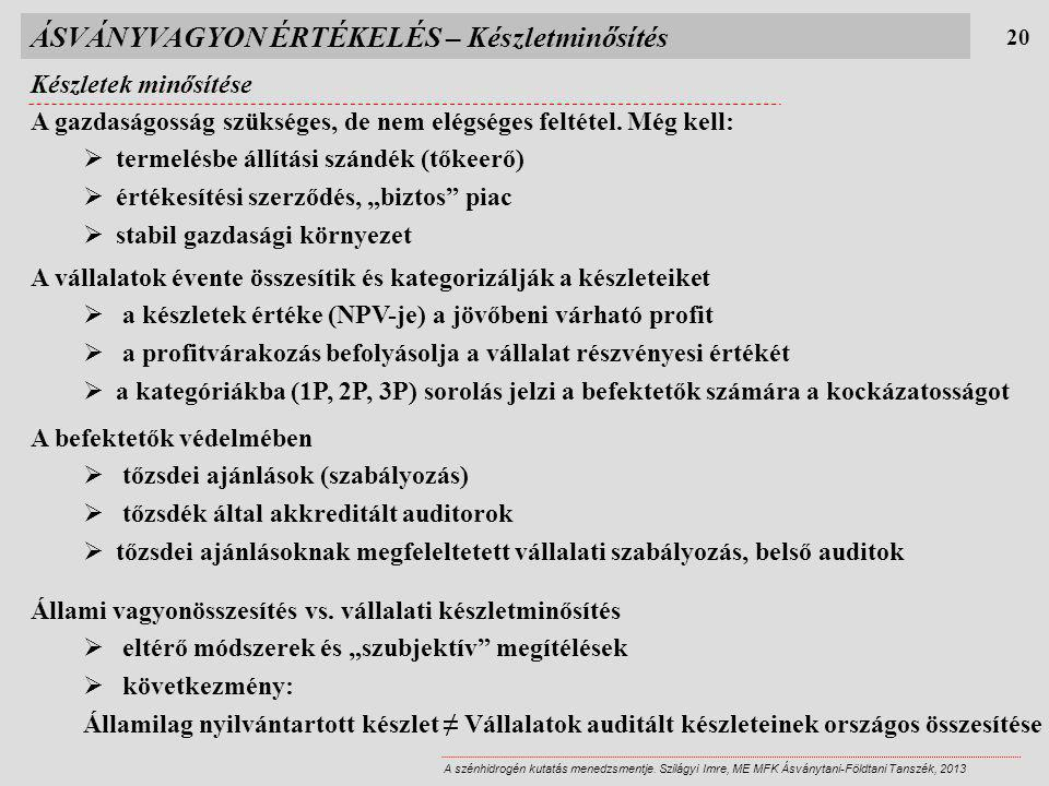 ÁSVÁNYVAGYON ÉRTÉKELÉS – Készletminősítés Készletek minősítése 20 A szénhidrogén kutatás menedzsmentje. Szilágyi Imre, ME MFK Ásványtani-Földtani Tans