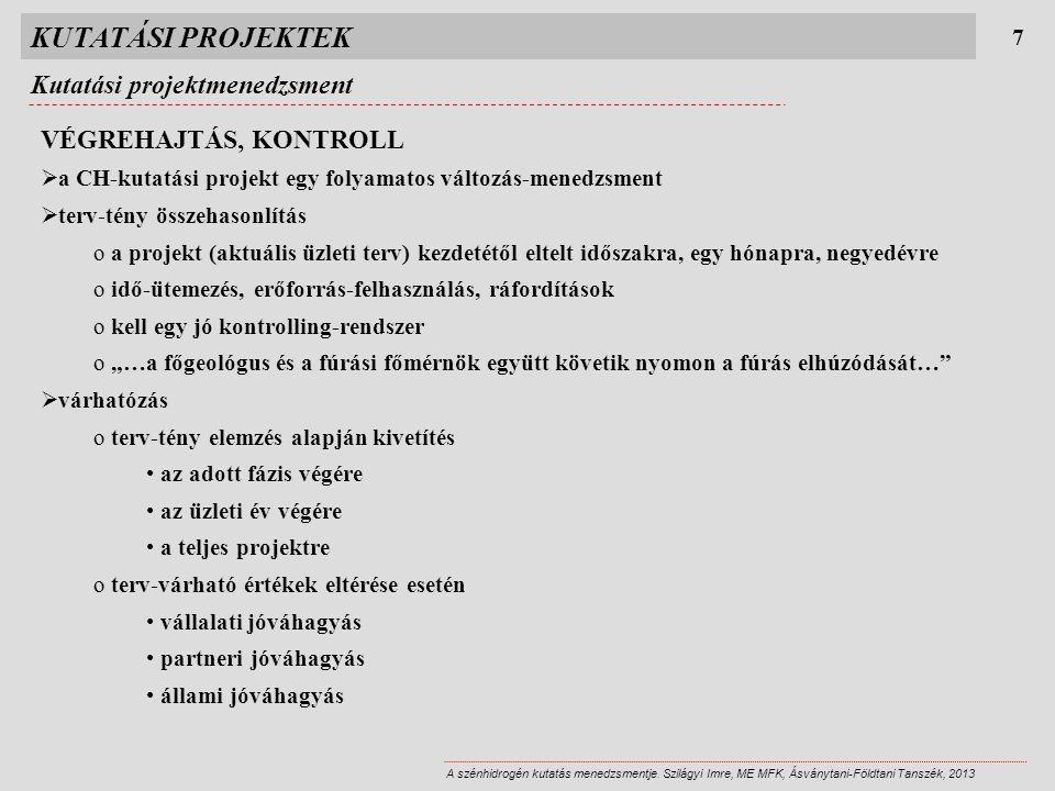 KUTATÁSI PROJEKTEK 7 A szénhidrogén kutatás menedzsmentje. Szilágyi Imre, ME MFK, Ásványtani-Földtani Tanszék, 2013 VÉGREHAJTÁS, KONTROLL  a CH-kutat