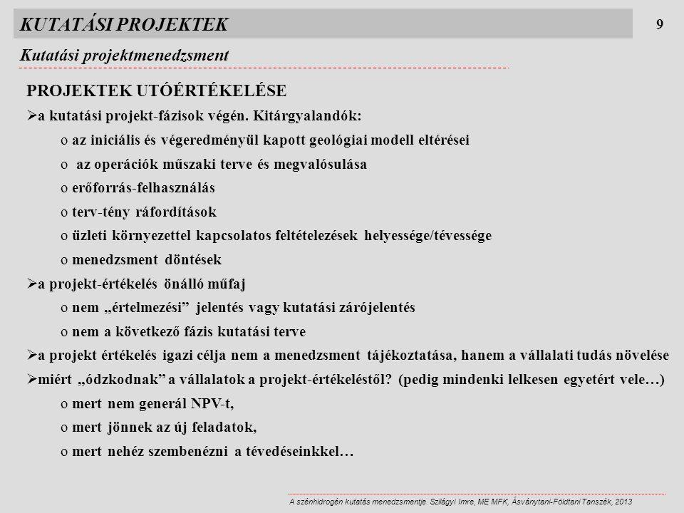 KUTATÁSI PROJEKTEK 9 A szénhidrogén kutatás menedzsmentje. Szilágyi Imre, ME MFK, Ásványtani-Földtani Tanszék, 2013 PROJEKTEK UTÓÉRTÉKELÉSE  a kutatá