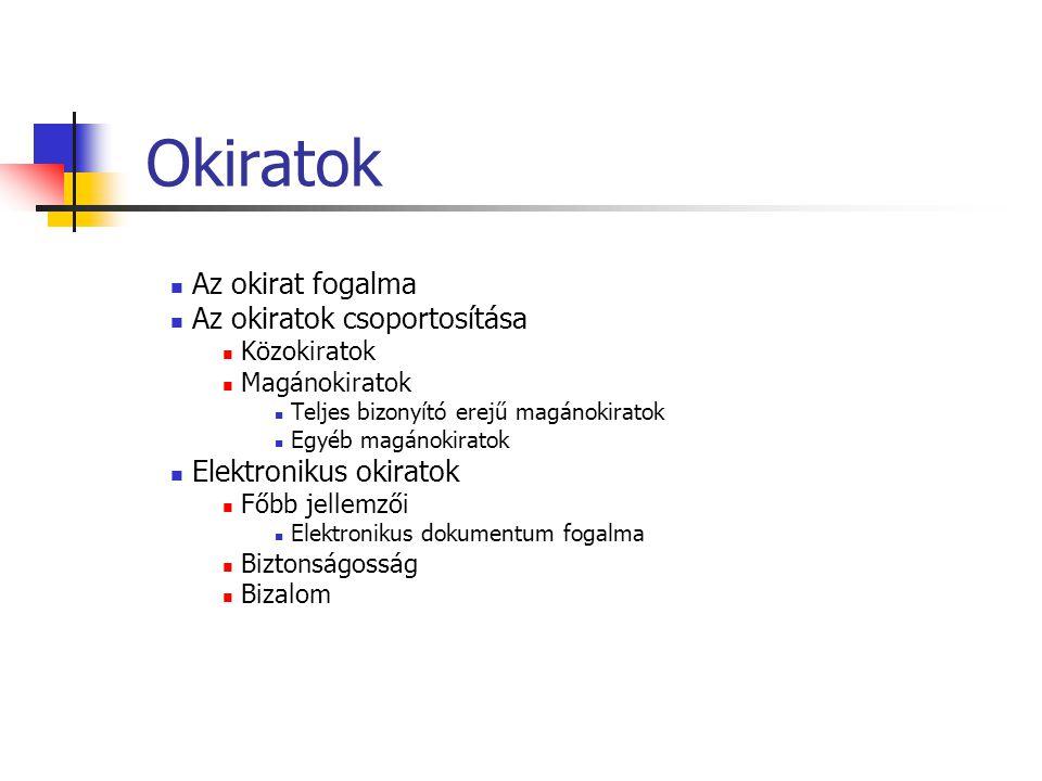 Az elektronikus aláírás mint jogintézmény megjelenése Távol lévő felek közötti jogi hatással bíró nyilatkozattétel lehetősége – kereskedelmi igény Az EU szabályozása Magyar szabályozás