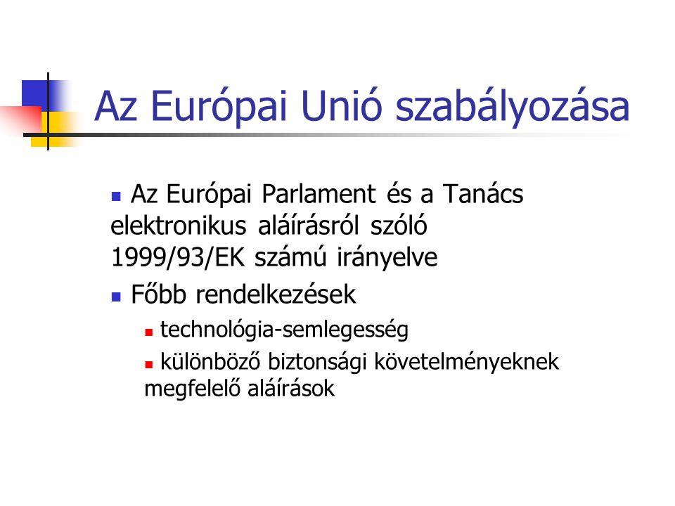 Az Európai Unió szabályozása Az Európai Parlament és a Tanács elektronikus aláírásról szóló 1999/93/EK számú irányelve Főbb rendelkezések technológia-