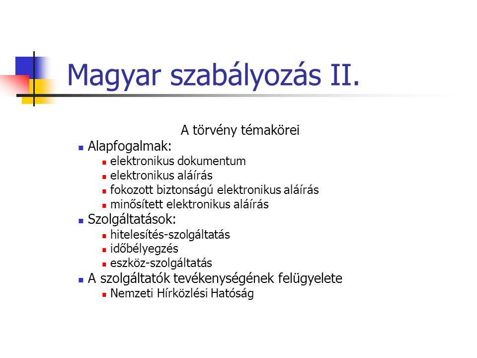 Magyar szabályozás II. A törvény témakörei Alapfogalmak: elektronikus dokumentum elektronikus aláírás fokozott biztonságú elektronikus aláírás minősít