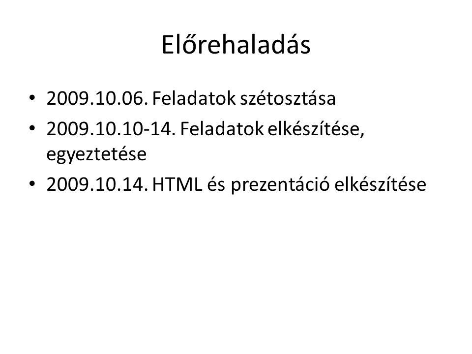 Előrehaladás 2009.10.06.Feladatok szétosztása 2009.10.10-14.