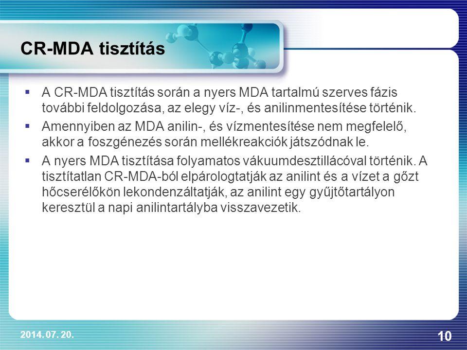 2014. 07. 20. 10 CR-MDA tisztítás  A CR-MDA tisztítás során a nyers MDA tartalmú szerves fázis további feldolgozása, az elegy víz-, és anilinmentesít
