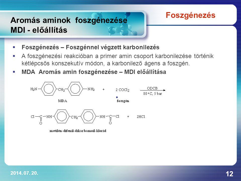 2014. 07. 20. 12 Aromás aminok foszgénezése MDI - előállítás  Foszgénezés – Foszgénnel végzett karbonilezés  A foszgénezési reakcióban a primer amin