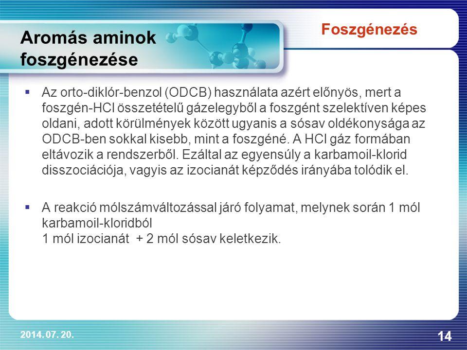 2014. 07. 20. 14 Aromás aminok foszgénezése  Az orto-diklór-benzol (ODCB) használata azért előnyös, mert a foszgén-HCl összetételű gázelegyből a fosz