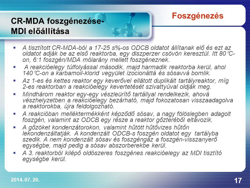 2014. 07. 20. 17 CR-MDA foszgénezése- MDI előállítása  A tisztított CR-MDA-ból a 17-25 s%-os ODCB oldatot állítanak elő és ezt az oldatot adják be az