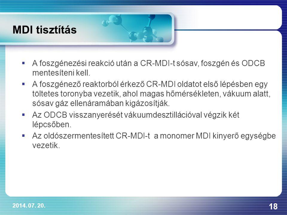 2014. 07. 20. 18 MDI tisztítás  A foszgénezési reakció után a CR-MDI-t sósav, foszgén és ODCB mentesíteni kell.  A foszgénező reaktorból érkező CR-M