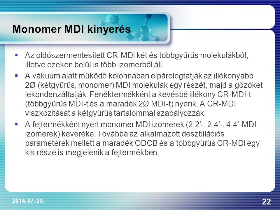 2014. 07. 20. 22 Monomer MDI kinyerés  Az oldószermentesített CR-MDI két és többgyűrűs molekulákból, illetve ezeken belül is több izomerből áll.  A