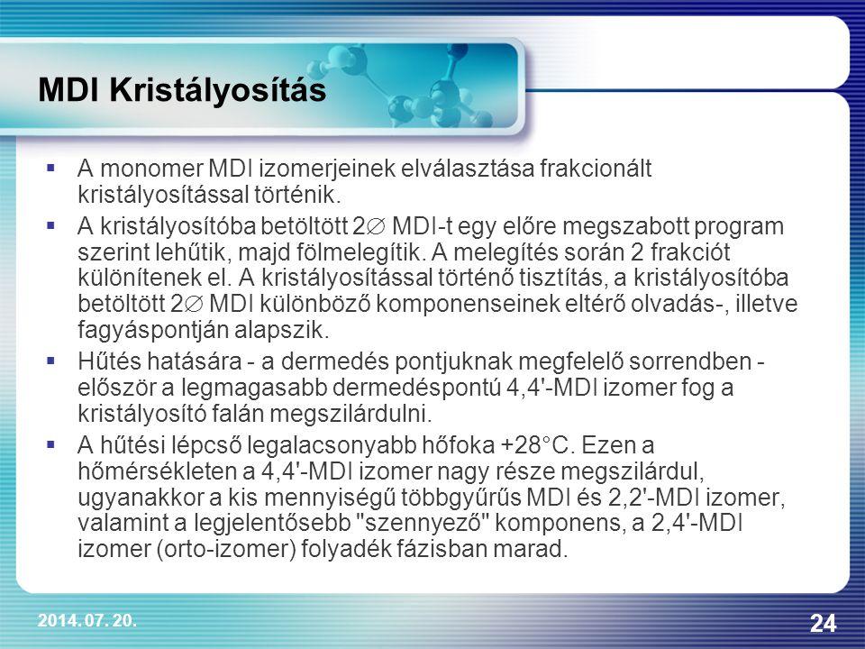 2014. 07. 20. 24 MDI Kristályosítás  A monomer MDI izomerjeinek elválasztása frakcionált kristályosítással történik.  A kristályosítóba betöltött 2