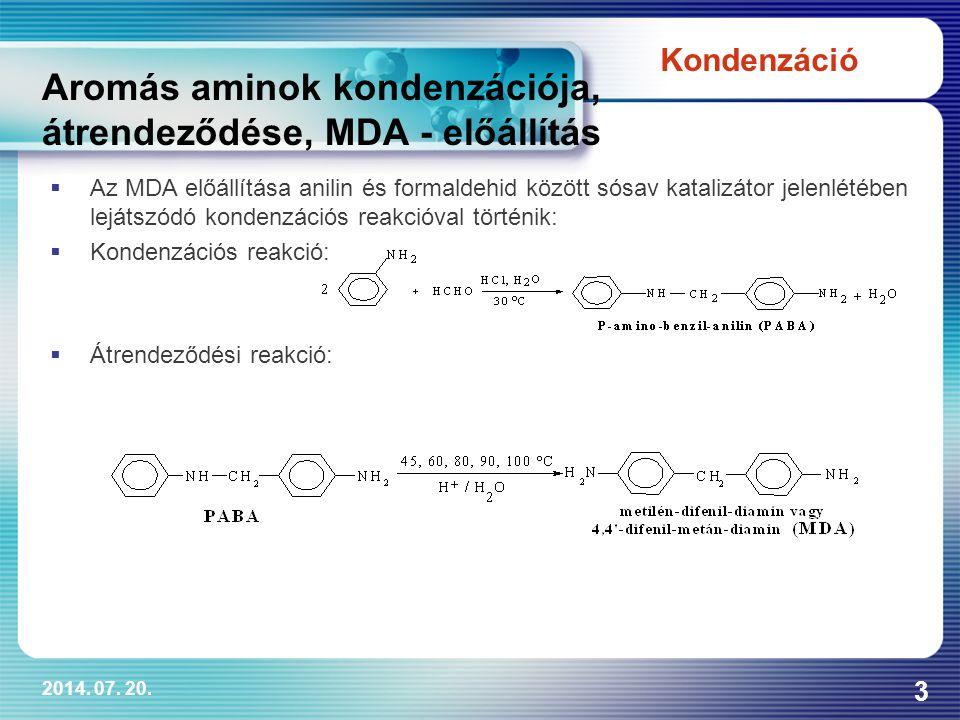 2014. 07. 20. 3 Aromás aminok kondenzációja, átrendeződése, MDA - előállítás  Az MDA előállítása anilin és formaldehid között sósav katalizátor jelen