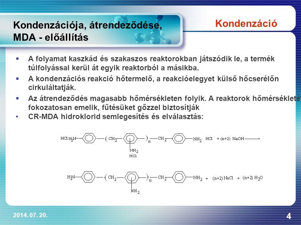 2014. 07. 20. 4 Kondenzációja, átrendeződése, MDA - előállítás  A folyamat kaszkád és szakaszos reaktorokban játszódik le, a termék túlfolyással kerü