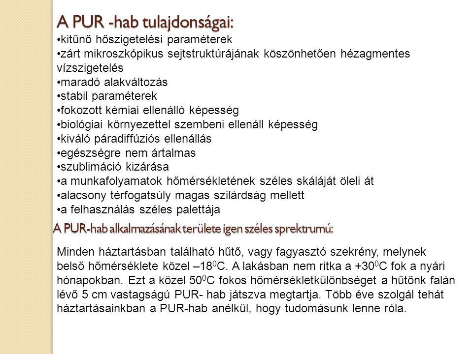 A PUR -hab tulajdonságai: kitűnő hőszigetelési paraméterek zárt mikroszkópikus sejtstruktúrájának köszönhetően hézagmentes vízszigetelés maradó alakvá