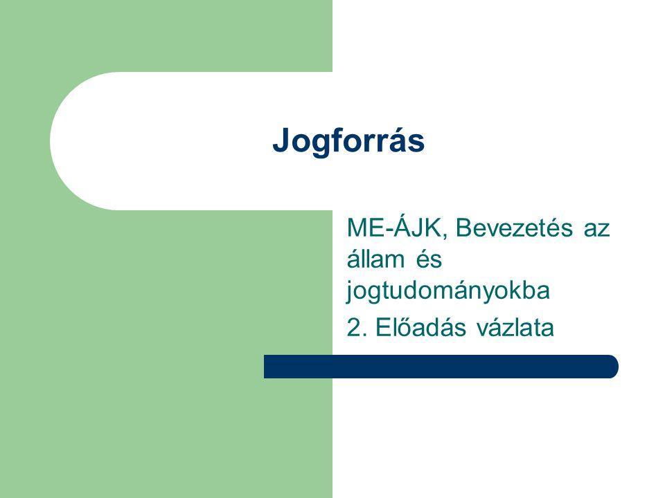 Jogforrás ME-ÁJK, Bevezetés az állam és jogtudományokba 2. Előadás vázlata